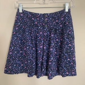 American Eagle Blue and Purple Floral Mini Skirt